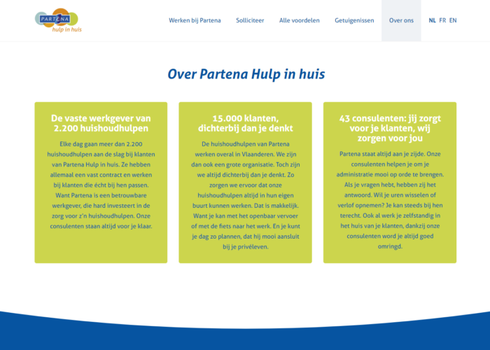 copywriting jobsite, copywriting website Partena Hulp in Huis