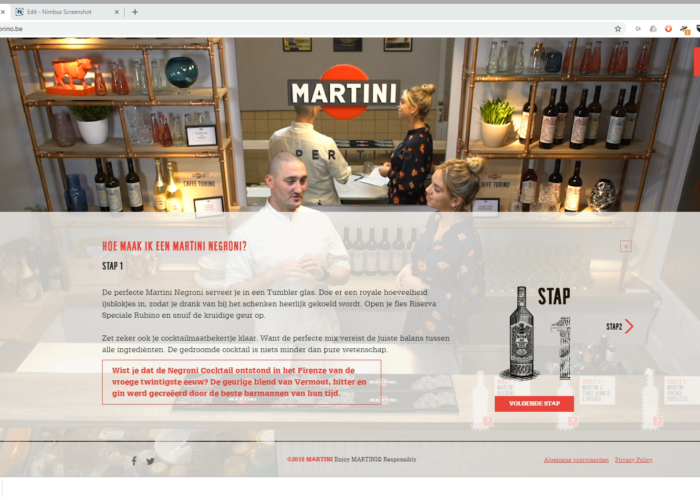 Copywriting voor Martini website Caffe Torino